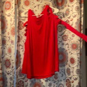 NWOT Red dual peep shoulder long sleeve shirt